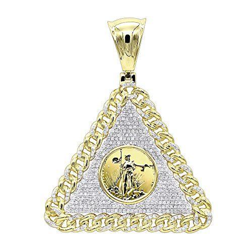 Mens Diamond Pendant 10K Gold Liberty Coin Cuban Link Triangle