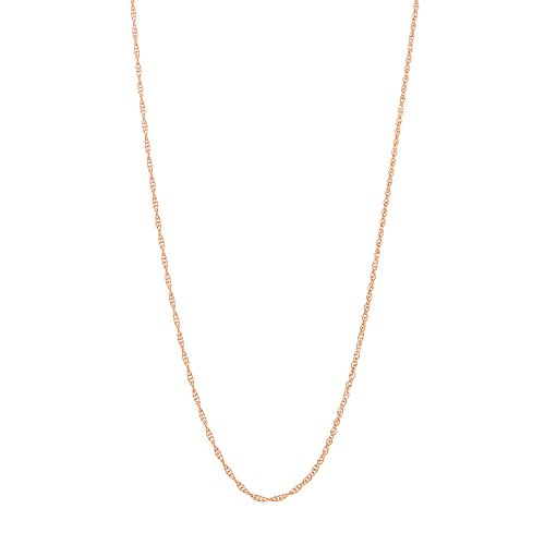 Beauniq 14k Rose Gold 0.90mm Delicate Rope Chain Necklace