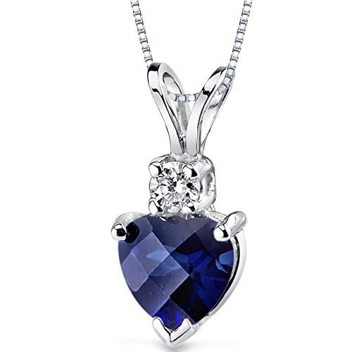 14 Karat White Gold Heart Shape 1.00 Carats Created Blue Sapphire