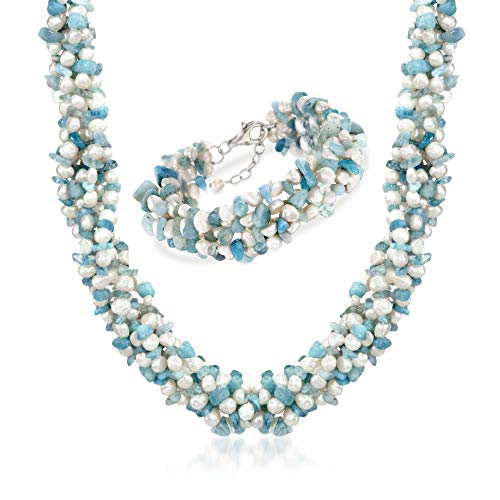 Ross-Simons Aquamarine Bead and 5-6mm Cultured Pearl