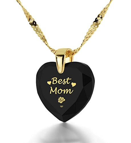 Gold Plated Best Mom Necklace - Heart Pendant Inscribed