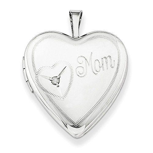 925 Sterling Silver 20mm Mom Diamond Heart Photo Pendant Charm