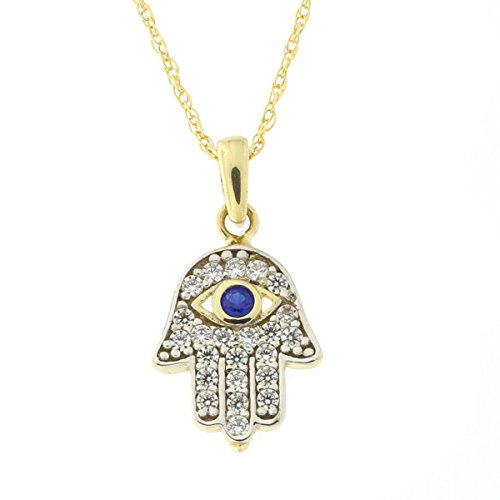 Beauniq 14k Yellow Gold Simulated Sapphire and Cubic Zirconia