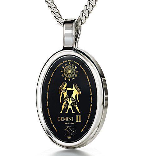 Nano Jewelry 14k White Gold Zodiac Pendant Gemini Necklace