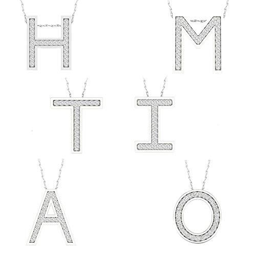 "IGI CERTIFIED 1/12ct TDW Sterling Silver Diamond""M"" Alphabet Letter Pendant"