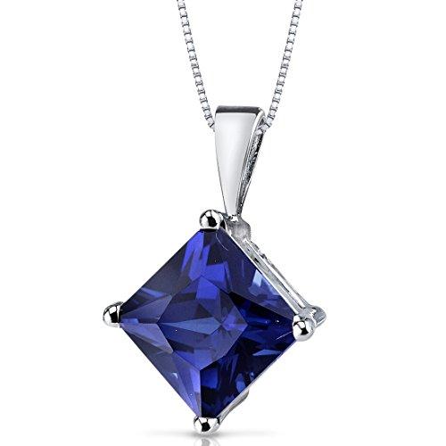 14 Karat White Gold Princess Cut 3.50 Carats Created Blue Sapphire