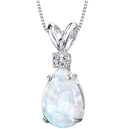14 Karat White Gold Pear Shape Created Opal Diamond Pendant