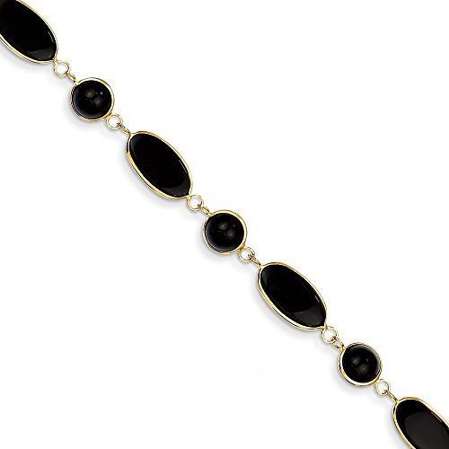 14k Yellow Gold Black Onyx Bracelet 7.25 Inch Gemstone Fine Jewelry Gifts