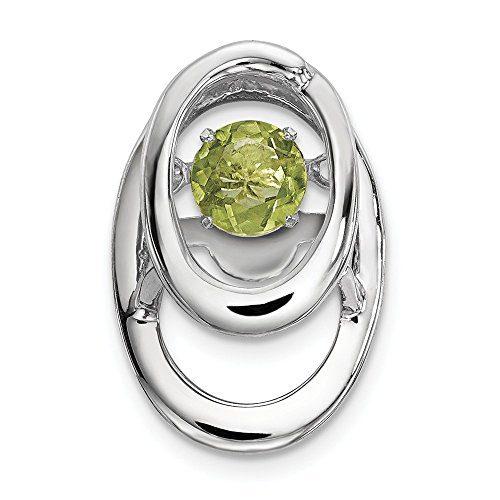 925 Sterling Silver Green Peridot Birthstone Vibrant Pendant Charm Necklace