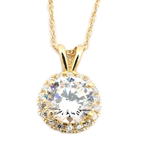 Beauniq 14k Yellow Gold Cubic Zirconia 9mm Halo Pendant Necklace
