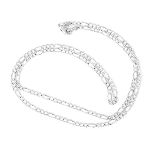 Beauniq Men's 14k Solid White Gold Figaro 2.6mm Chain Necklace