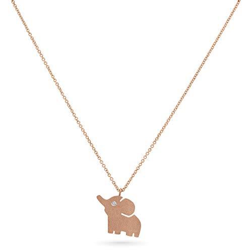 18K Rose Gold Diamond Elephant Animal Necklace
