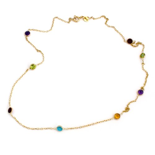 14k Yellow Gold Bezel Set Natural Gemstones Station Necklace