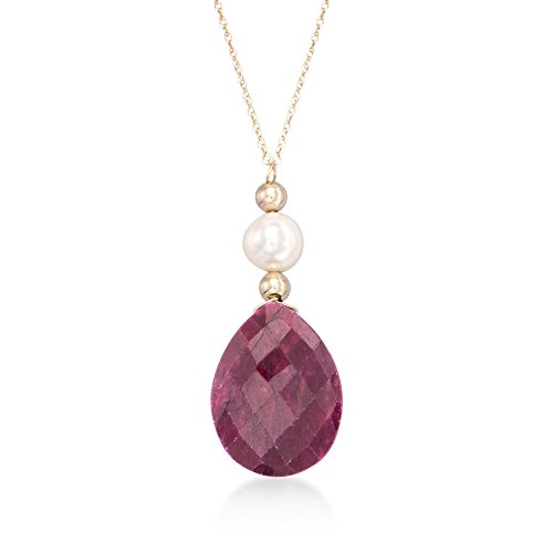 Ross-Simons 10.00 Carat Ruby and Cultured Pearl Drop Necklace