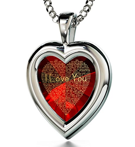 Sterling Silver Heart Pendant I Love You Necklace 120 Languages