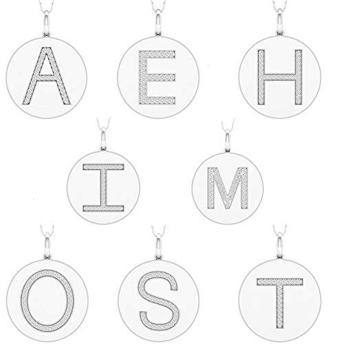 "IGI CERTIFIED 1/10ct TDW Sterling Silver Diamond""S"" Alphabet Letter"