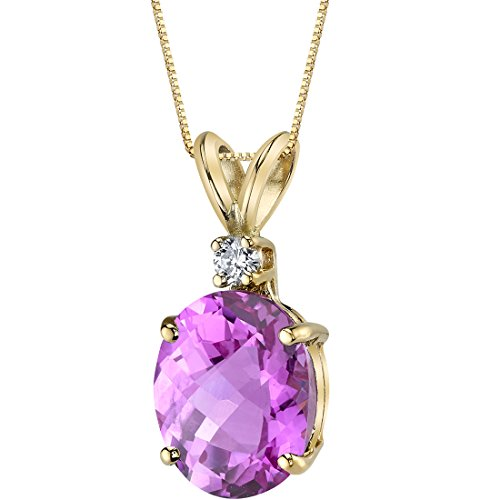 14 Karat Yellow Gold Oval Shape 3.50 Carats Created Pink Sapphire