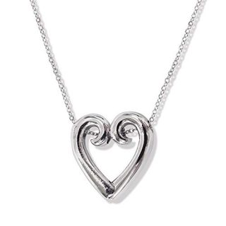 Jewels By Lux Silver-Tone Hinged Heart Ring Holder Necklace