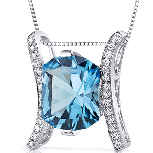 Prince Cut 4.00 carats Sterling Silver Rhodium Finish Swiss Blue Topaz