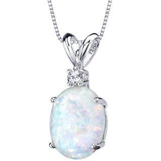 14 Karat White Gold Oval Shape Created Opal