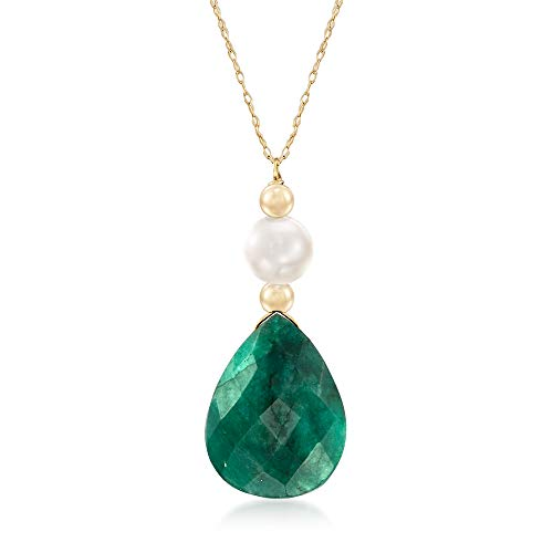 Ross-Simons 8.00 Carat Emerald and Cultured Pearl Necklace