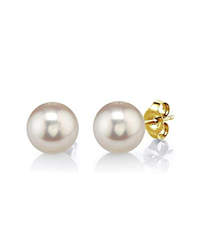 THE PEARL SOURCE 14K Gold 7-8mm AAAA Quality Round White Freshwater