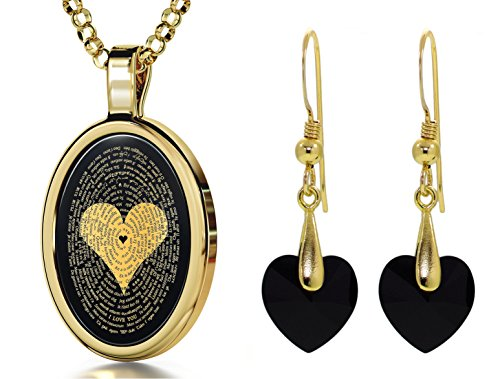 Gold Plated I Love You Necklace 120 Languages Inscribed Onyx