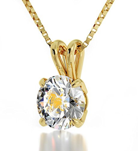 Nano Jewelry 14k Yellow Gold Zodiac Pendant Leo Necklace