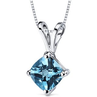 14 Karat White Gold Cushion Cut 1.00 Carats Swiss Blue Topaz