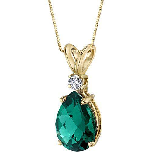 14 Karat Yellow Gold Pear Shape 1.75 Carats Created Emerald Diamond