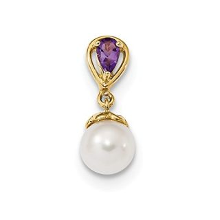 14k Yellow Gold Purple Amethyst Freshwater Cultured Pearl Pendant