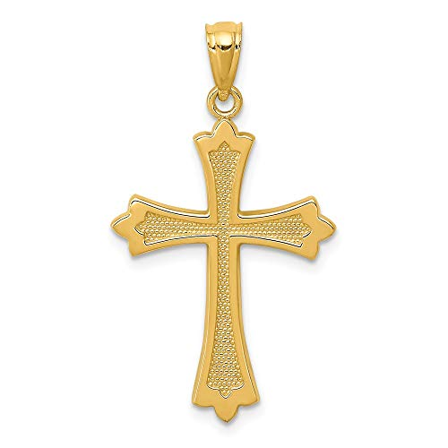 Jewels By Lux 14K Yellow Gold Budded Cross Pendant