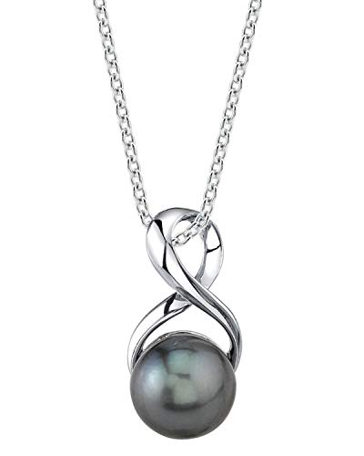 THE PEARL SOURCE 8-9mm Genuine Black Tahitian South Sea