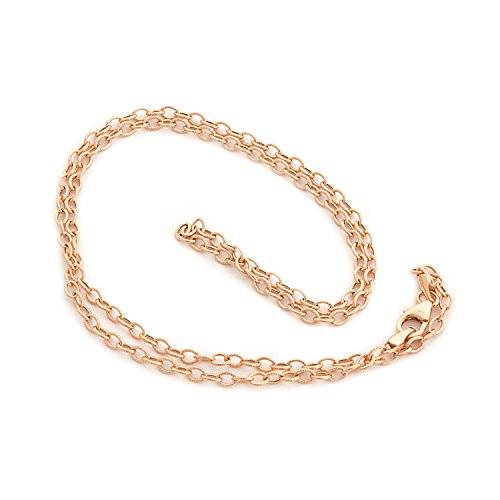 Beauniq 14k Rose Gold 2.6mm Lightweight Textured Link Chain Necklace