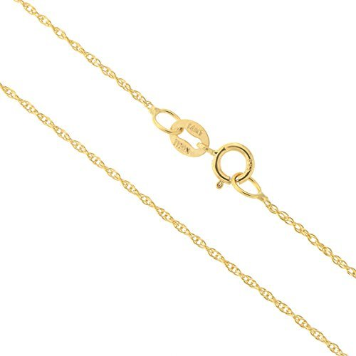 14k Yellow Gold Italian 0.90mm Delicate Rope Chain Necklace