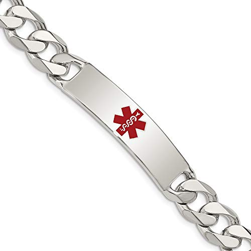 Sterling Silver Medical Alert Curb Link Id Bracelet 7.5 Inch Fine Jewelry Gifts
