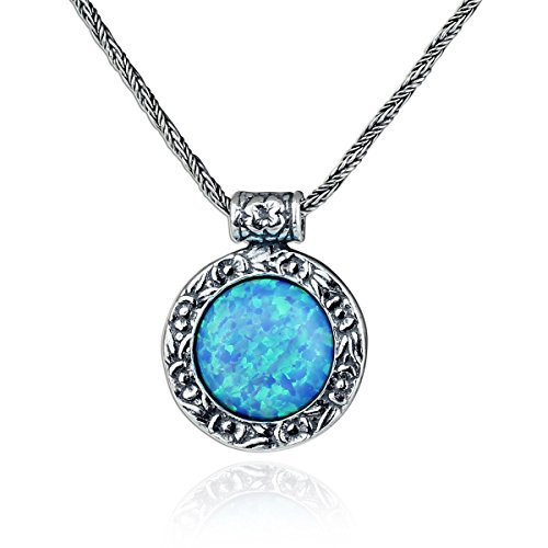 Antique Look Created Blue Fire Opal Round Pendant