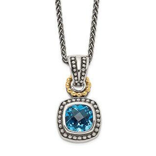 Sterling Silver 14k Blue Topaz Chain Necklace Pendant Charm