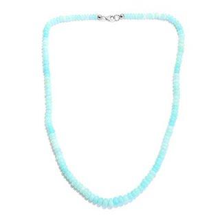 Blue Opal Enhanced Bead Strand Necklace Sterling Silver Platinum