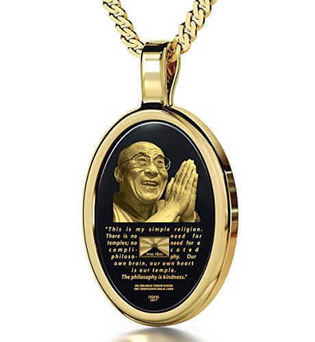 Nano Jewelry Gold Plated Dalai Lama Necklace Inscribed Free Tibet