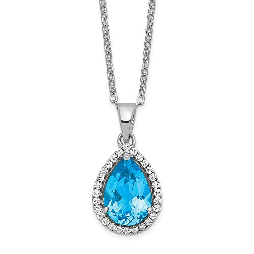 925 Sterling Silver Blue Topaz Cubic Zirconia Cz Chain Necklace Set