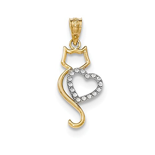 14k Two Tone Yellow Gold Cat Heart Pendant Charm Necklace