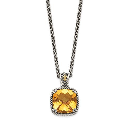 Sterling Silver 14k Yellow Citrine Chain Necklace Pendant