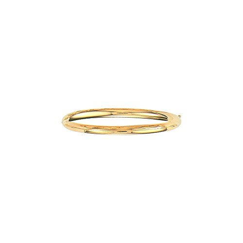 14K Yellow Gold Plain Shiny Round Dome Classic 5mm Wide Bangle