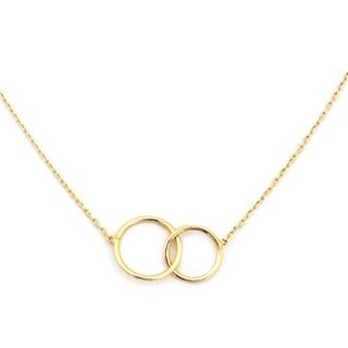 14k Yellow Gold Tiny Delicate Interlocking Circles