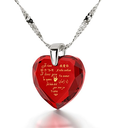 Nano Jewelry Sterling Silver Heart Necklace I Love You Pendant
