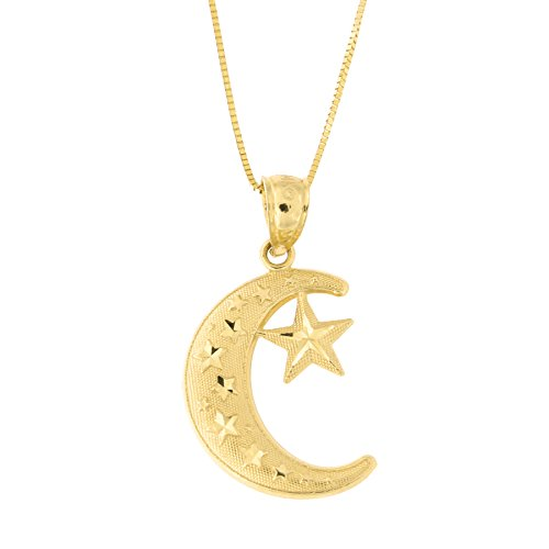Beauniq 14k Yellow Gold Large Diamond Cut Crescent Moon
