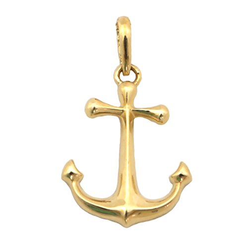 Beauniq 14k Yellow Gold Anchor Pendant Necklace