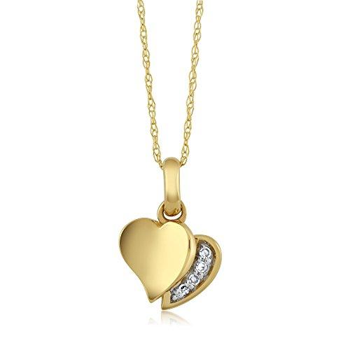 Gem Stone King 18k Yellow Gold White Diamond Heart Shape Ladies
