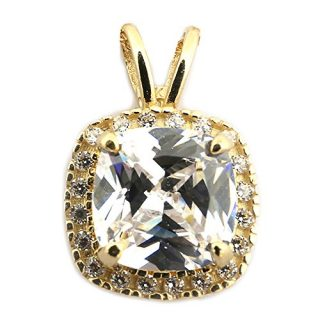 Beauniq 14k Yellow Gold Cubic Zirconia 9mm Cushion Cut Halo Pendant Necklace